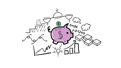 Isolated Hand Drawn Piggy bank Icon Animation
