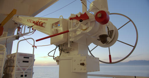 device of lifeboats on a sunset cruise ship Footage