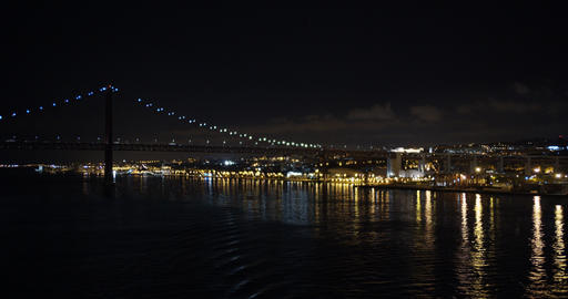Aerial view. Lisbon night view. Portugal Lisbon Ponte 25 de Abril at Night Live Action