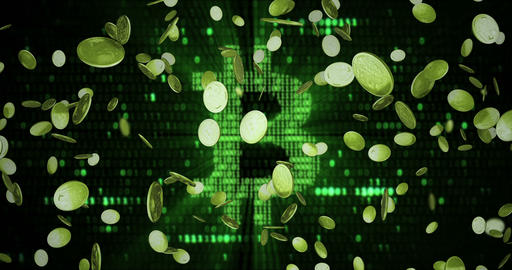 virtual gold bitcoins symbol crypto digital currency explosion from bottom on green bitcoin symbol Live Action