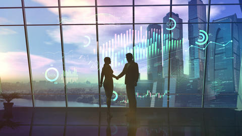 Silhouettes of a businessman and a businesswoman at the time of a handshake CG動画