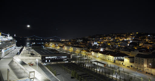 Aerial view. Lisbon Portugal night cityscape city centre view aerial panorama Live Action