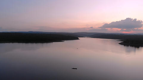 Drone shot aerial view scenic landscape of reservoir dam at the countryside ライブ動画
