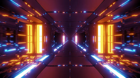 futuristic metal sci-fi space tunnel corridor 3d illustration live wallpaper Animation