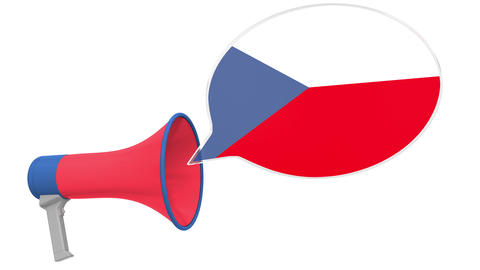 Megaphone and flag of the Czech Republic on the speech balloon. Language or Live Action