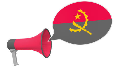 Megaphone and flag of Angola on the speech bubble. Language or national Live Action