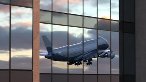 Airplane Takes Off in Reflections of Airport Windows Animation