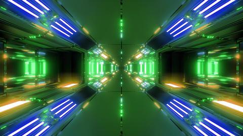 futuristic high reflective sci-fi space tunnel corridor 3d illustration live Animation