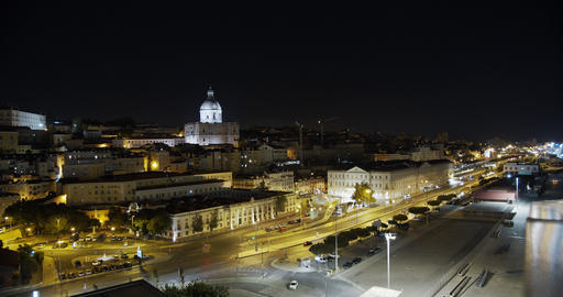 Aerial view. Downtown Lisbon, Portugal. Night time lapse of the historic old Footage