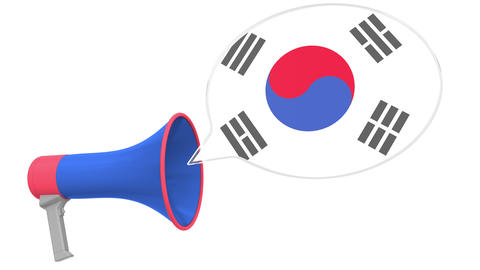 Loudspeaker and flag of South Korea on the speech bubble. Language or national Live Action