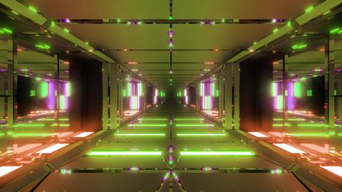clean futuristic metal sci-fi space tunnel corridor 3d illustration live Animation