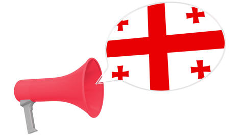 Loudspeaker and flag of Georgia on the speech balloon. Language or national Live Action