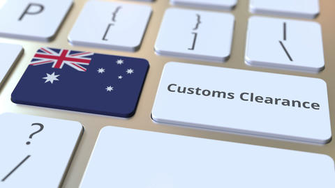 CUSTOMS CLEARANCE text and flag of Australia on the buttons on the computer Live Action