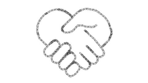 heart-shaped hand icon designed with drawing style on chalkboard, animated Photo