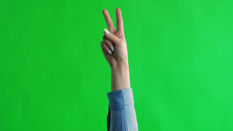 Woman's hand show a gesture of peace. Green screen studio Live Action