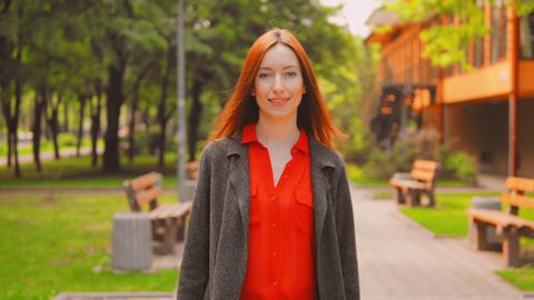 front view elegant businesswoman enjoy walks outdoors Footage