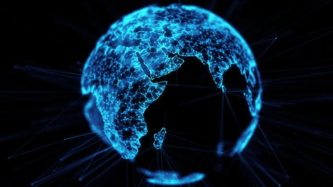 Digital globe big data social network Earth planet hologram 4k alpha matte loop Animation
