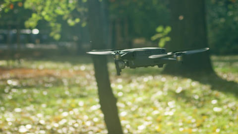 Portable modern drone flies in the sunny park, slow motion shot on Red camera Live Action