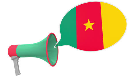 Megaphone and flag of Cameroon on the speech bubble. Language or national Live Action