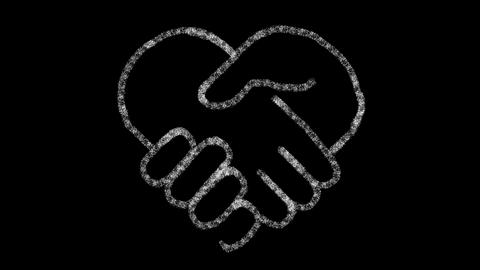 heart-shaped hand icon designed with drawing style on chalkboard, animated GIF