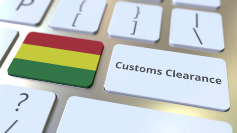 CUSTOMS CLEARANCE text and flag of Bolivia on the buttons on the computer Live Action