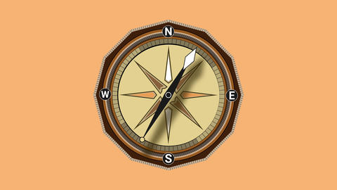 Compass spinning 4K animation. Geography navigation pointing equipment with magnetic hand, wind rose Animation