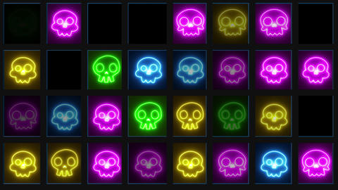 Colorful Neon Skull CG動画