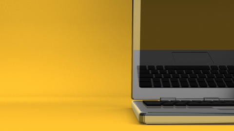 Closeup Of Laptop On Yellow Text Space Animation