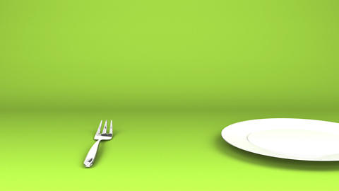 Cutlery And Dish On Green Text Space Videos animados