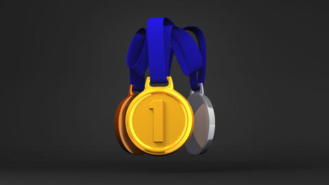 Rotating 3Medals On Black Background Videos animados