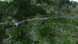 Aerial view of mountain hillside road. Portugal Madeira landscape 4k video Footage