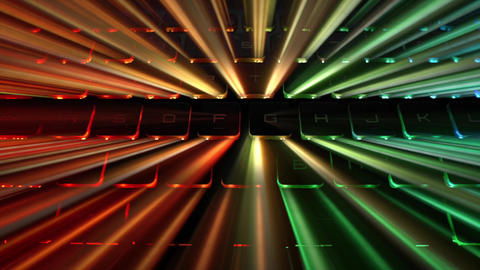 PC Keyboard With Rainbow Lights Stock Video Footage