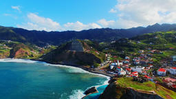 Portugal Madeira 4k video. Sea ocean mountain coast harbor city shore surf Footage