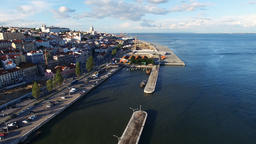 Portugal 4k aerial video. Old city Lisbon. Waterfront, ocean marina port dock Footage