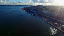 Aerial ocean Lisbon city coastline port dock waterfront. Portugal 4k video Footage