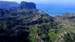 Portugal Madeira 4k aerial video. Flight over mountain sea ocean city village Footage