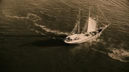 Sailing retro pirates historic ship ocean sea. Aerial flight HD sepia video Footage