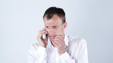 portrait of man speaking on his cell phone ,jobless sad, rejection of his work Footage