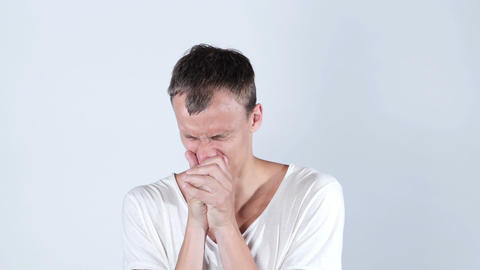 Desperate sad young man crying protrait Footage