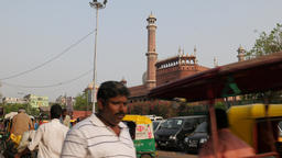 Traffic on road with Jama Mosque,New Delhi,India Footage
