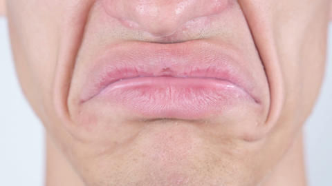 Sad, Close Up Of Man's Face Lips Footage