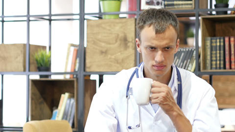 Hospital Doctor Work Drink Coffee , tired Footage