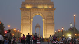 Tourists in evening at India Gate,New Delhi,India Footage