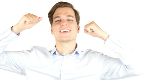 Man extremely happy gesturing and shouting against white background Footage
