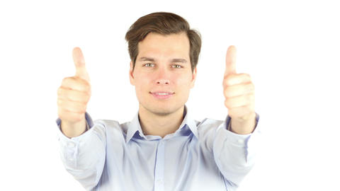Excited businessman showing thumbs up Footage