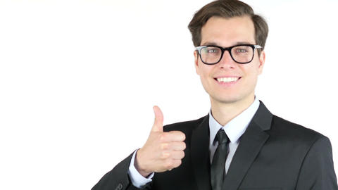 Cheerful chief bussiness man showing thumbs up success sign Footage