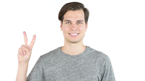 man showing two fingers or victory sign, isolated, studio Footage