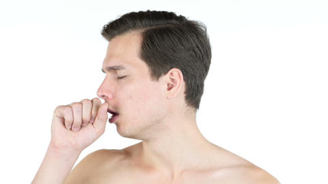 Portrait of young man coughing because of flu Footage
