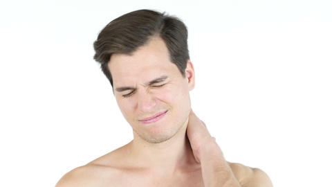 Close up of young man with closed eyes, clenched teeth - neck pain concept Live Action