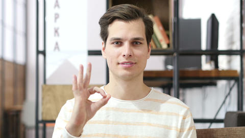 Man shows ok sign excellent job , Successful business Footage